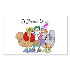 3 French Hens Rectangle Decal