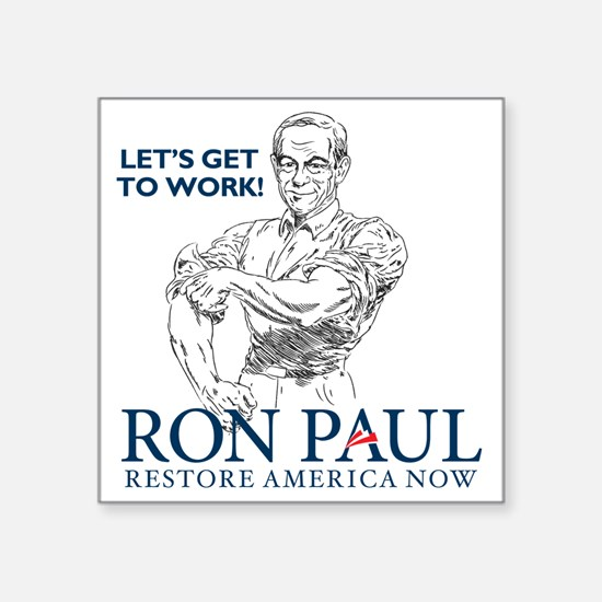"""Ron Paul 2012 Lets Get To W Square Sticker 3"""" x 3"""""""