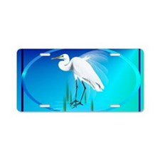 Wall Peels Great Egret Oval Aluminum License Plate