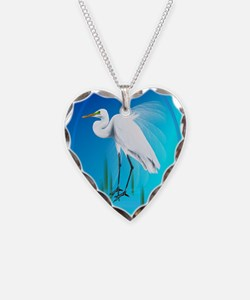 ornament_ovalGreat Egret Necklace Heart Charm