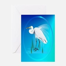 ornament_ovalGreat Egret Greeting Card