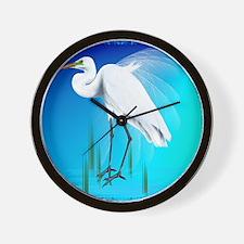 Great Egret_pillow Wall Clock