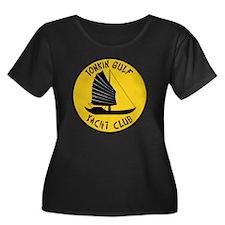 Tonkin G Women's Plus Size Dark Scoop Neck T-Shirt