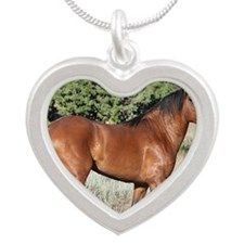 Kiger Stallion Silver Heart Necklace