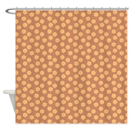 Floral Patern In Orange And Brown Shower Curtain By Metarla4