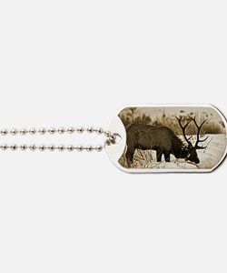 Sepia  elk in snow Dog Tags