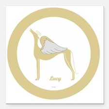 """LUCY 1 ANGEL GREY gold r Square Car Magnet 3"""" x 3"""""""