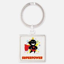 Teaching-Is-My-Superpower-blk Square Keychain