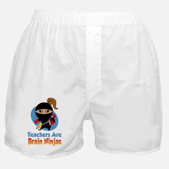 Teachers-Are-Brain-Ninjas-blk Boxer Shorts