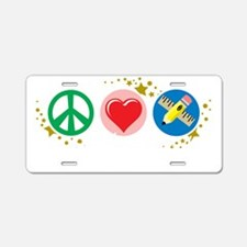 Peace-Love-Teach-blk Aluminum License Plate