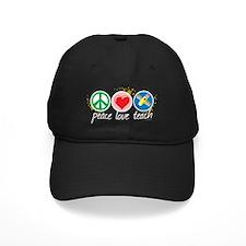 Peace-Love-Teach-blk Baseball Hat