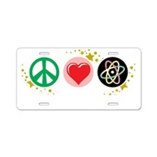 Peace-Love-Science-blk Aluminum License Plate