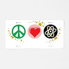 Peace-Love-Science-blk Aluminum License Plate