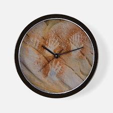 Red Pigment Handprints Wall Clock