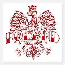 "Poland Ink White Eagle R Square Car Magnet 3"" x 3"""