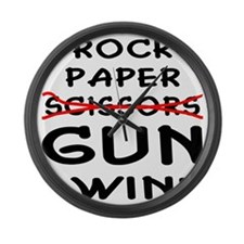 wht_rock_paper_gun_I_Win Large Wall Clock