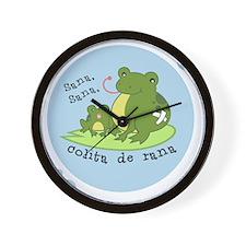 frog_bluebubble_forwhitebg Wall Clock