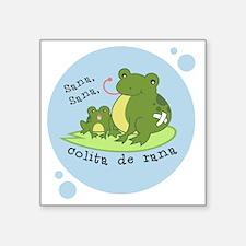 "frog_bluebubble_forwhitebg Square Sticker 3"" x 3"""