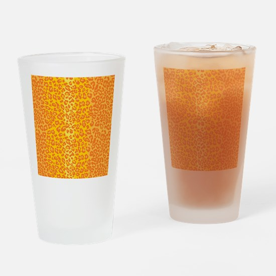 iPadLeopardOrange Drinking Glass