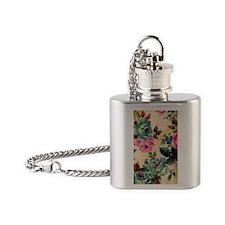 444 Antique Flowers Flask Necklace