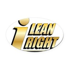 I Lean Right 00 Oval Car Magnet
