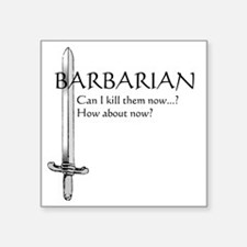 "Barbarian Black Square Sticker 3"" x 3"""