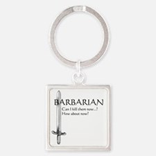 Barbarian Black Square Keychain