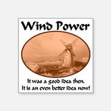 """windpower_then_and_now2 Square Sticker 3"""" x 3"""""""