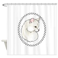 Cat And Paw Prints Shower Curtain