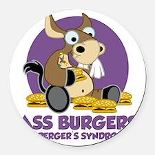 Aspergers-Donkey-blk Round Car Magnet