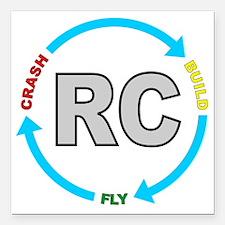 "build crash fly Square Car Magnet 3"" x 3"""