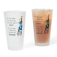 SoccerDogKIdding LarryCaps Drinking Glass