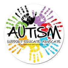 Autism-Handprint2011 Round Car Magnet