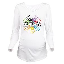 Autism-Handprint2011 Long Sleeve Maternity T-Shirt