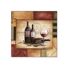 "wine and chocolate 2 Square Sticker 3"" x 3"""