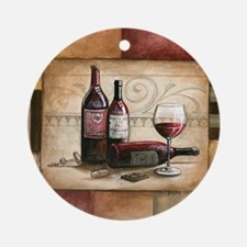 wine and chocolate 2 Round Ornament