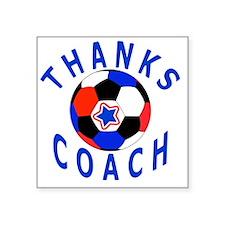 """Soccer Coach Thank You Uniq Square Sticker 3"""" x 3"""""""