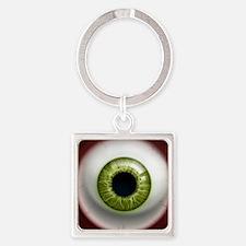 16x16_theeye_green Square Keychain