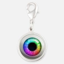 16x16_theeye_rainbow Silver Round Charm