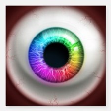 "16x16_theeye_rainbow Square Car Magnet 3"" x 3"""