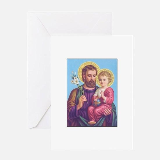 St. Joseph with Jesus Greeting Cards