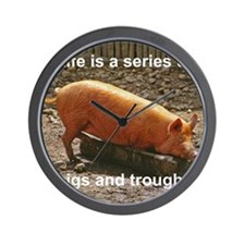 Pigs and troughs Wall Clock