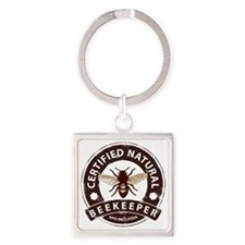 Certified Natural Beekeeper Square Keychain