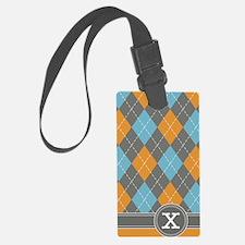 441_argyle_monogram_orange_x Luggage Tag