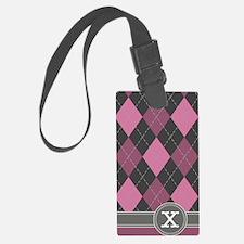 441_argyle_monogram_rose_x Luggage Tag