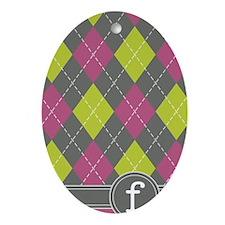 441_argyle_monogram_pink_f Oval Ornament