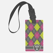 441_argyle_monogram_pink_t Luggage Tag