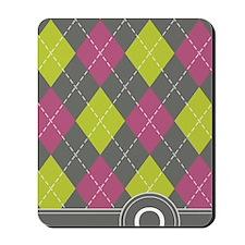 441_argyle_monogram_pink_q Mousepad