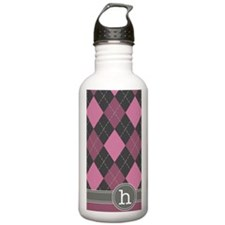 441_argyle_monogram_ro Water Bottle