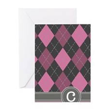 441_argyle_monogram_rose_c Greeting Card